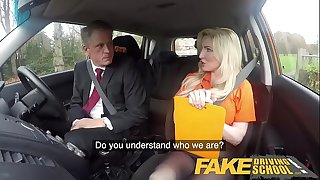 Fake Driving School Mature guy prettiest over blond bombshell Georgie lyall