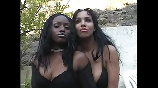 2 ebony honeys Soleil and Jada Fire share one rock hard cock in front of the fireplace