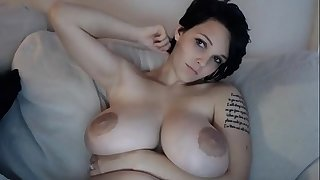 Babe with HUGE tits milks with dildo